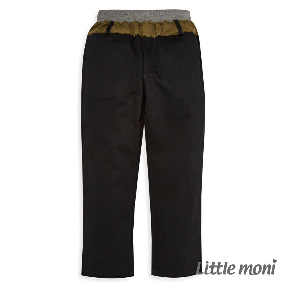 Little moni 撞色拼接長褲-黑色(好窩生活節) - 限時優惠好康折扣