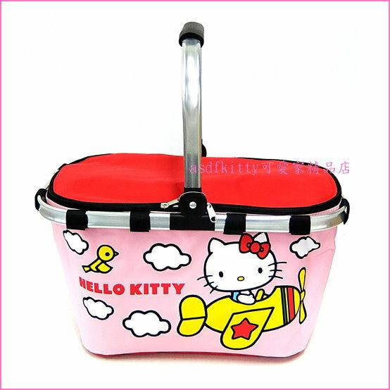 asdfkitty可愛家☆KITTY粉飛行機輕量保冷購物袋/野餐籃-車用固定籃-日本正版商品