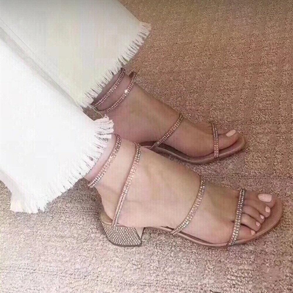 2019新款網紅同款蛇形纏繞涼鞋女夏粗跟中跟羅馬綁帶高跟鞋 【限時特惠】