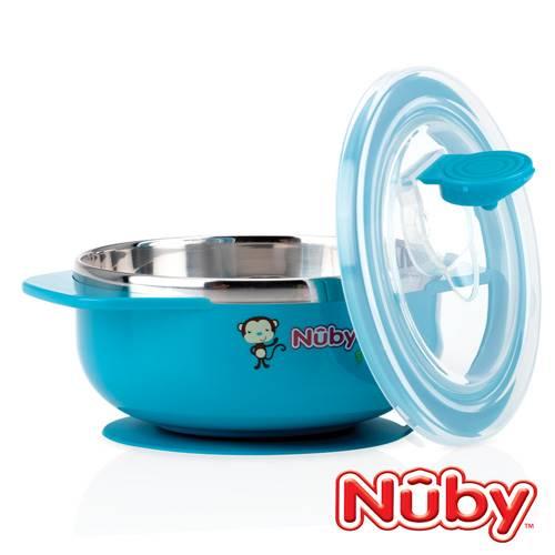 【悅兒園婦幼生活館】Nuby 不銹鋼吸盤碗-小猴(藍)