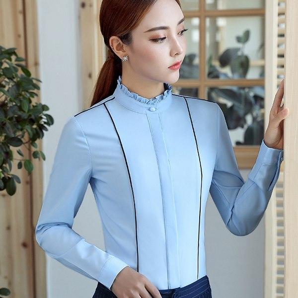 灰姑娘[YS-7061-PF]花邊立領純色滾邊OL長袖襯衫上衣~秋裝款式~