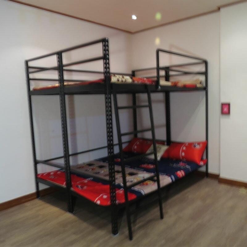 消光黑雙人加大床 雙層床架  宿舍床架 組合床 上下鋪 角鋼床架  空間特工【D3BF609】