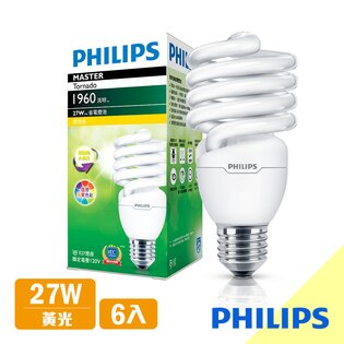 【飛利浦PHILIPSLIGHTING】Tornado螺旋省電燈泡T227W黃光E27120V-6入組