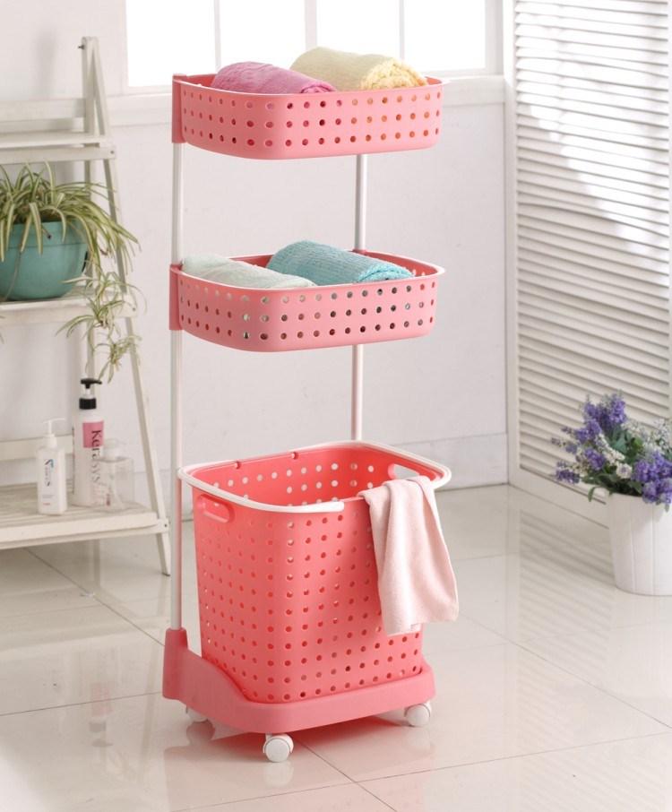 三層洗衣籃 三層滑輪洗衣籃 置物籃 玩具收納架 洗衣籃 超耐用~PT112~