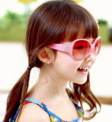 Kocotree◆閃亮晶鑽時尚兒童防紫外線護目太陽眼鏡-粉色