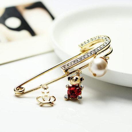 胸花 可愛個性皇冠小熊珍珠胸針 女 高檔時尚水晶別針