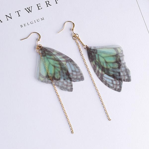 PS Mall 復古文藝氣質手作耳環 耳夾 耳墜 綠色薄紗蝴蝶翅膀 不對稱耳環~G2467