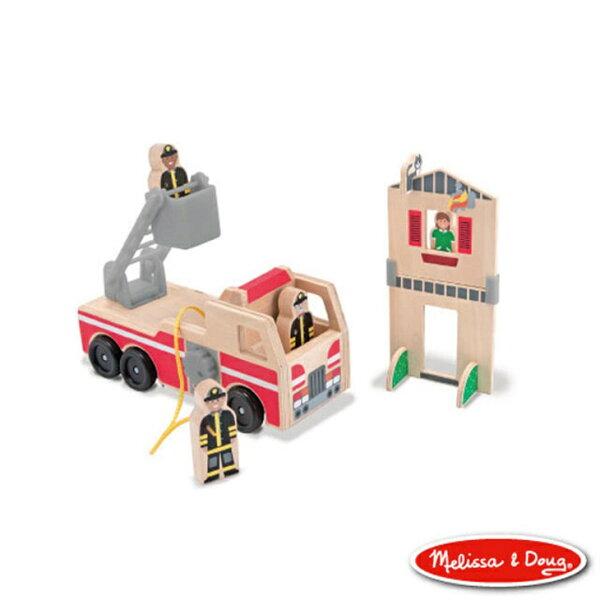 美國瑪莉莎Melissa&Doug木製小人國消防車【寶貝樂園】