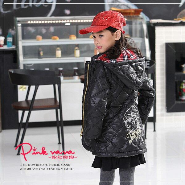 PINKNANA 女童車線菱紋造型連帽鋪棉外套22303