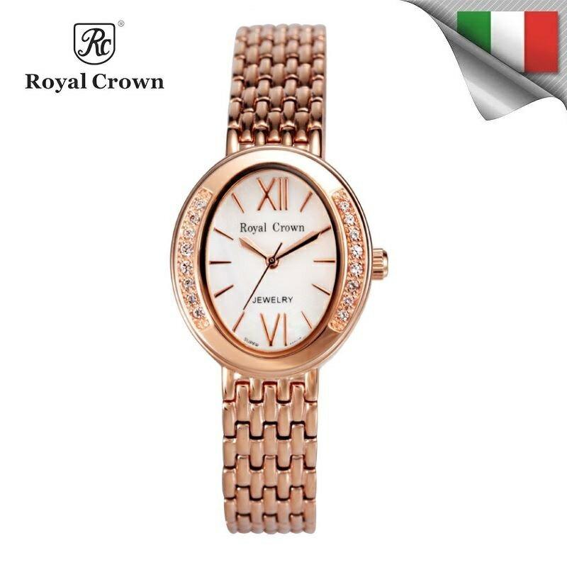 日本機芯 華貴氣質鑲鑽石英女錶 柔軟精鋼錶帶 雙色可選 6309S免運費 義大利品牌精品手錶 蘿亞克朗 Royal Crown