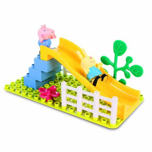 粉紅豬小妹積木系列-溜滑梯遊戲組/ 喬治/ 蕾貝卡兔/ PEPPA PIG/ 粉紅豬小妹 / 積木/ 益智/ 伯寶行