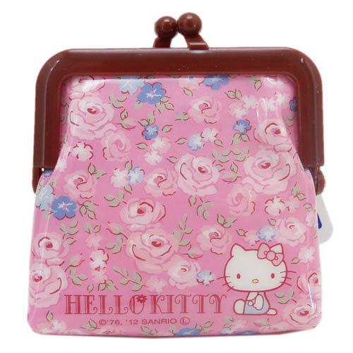 【真愛日本】6219100 膠皮珠扣零錢包-玫瑰粉 三麗鷗 Hello Kitty 小錢包 皮包 飾品包 日本帶回