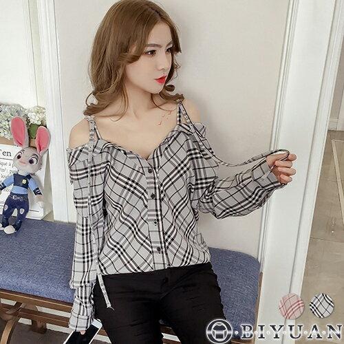 (女裝)露肩一字領格紋襯衫【NB2660】OBIYUAN長袖襯衫共2色