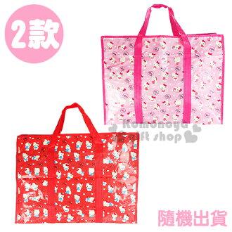 〔小禮堂韓國館〕Hello Kitty 側背購物袋《特大.2款隨機出貨.紅/粉.點點衣服》也可當棉被袋