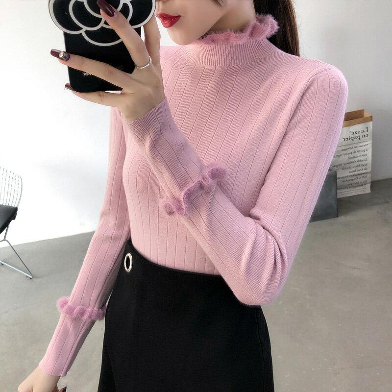 毛衣女新款2019秋冬韓版半高領木耳邊長袖修身內搭針織打底衫上衣1入