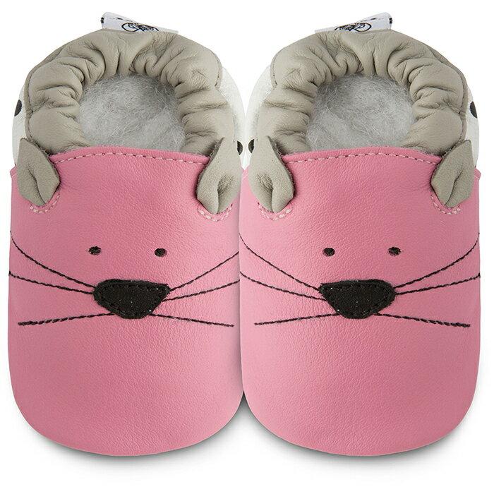 【hella 媽咪寶貝】英國 shooshoos 健康無毒真皮手工鞋/學步鞋/嬰兒鞋 粉貓咪的臉 102790(公司貨)