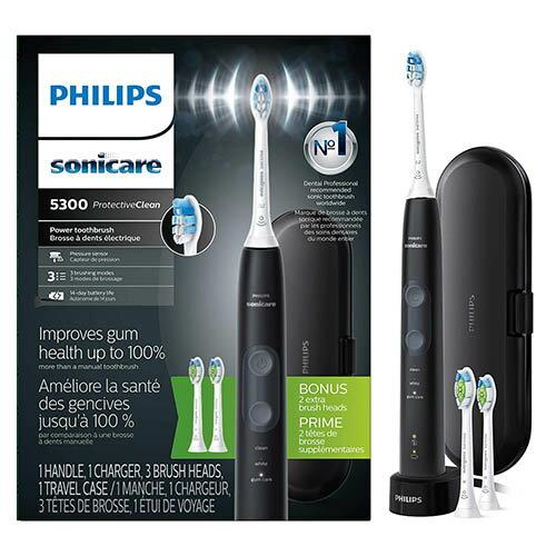 Philips 【美國代購】飛利浦 電動牙刷 Sonicare ProtectiveClean 5300 HX6423/34-黑色