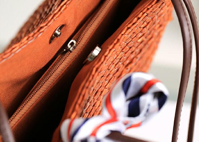 【RS Home】藤編包海灘包側肩包側背包渡假包島嶼時尚包圓桶包磁扣包藤編包 8
