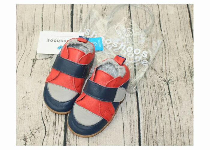 【hella 媽咪寶貝】英國 shooshoos 安全無毒真皮手工學步鞋/童鞋 海軍藍/紅色運動款(公司貨)