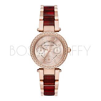 MK6239 MICHAEL KORS 三眼鑲鉆石英氣質酒紅間膠女錶鑲鑽手錶