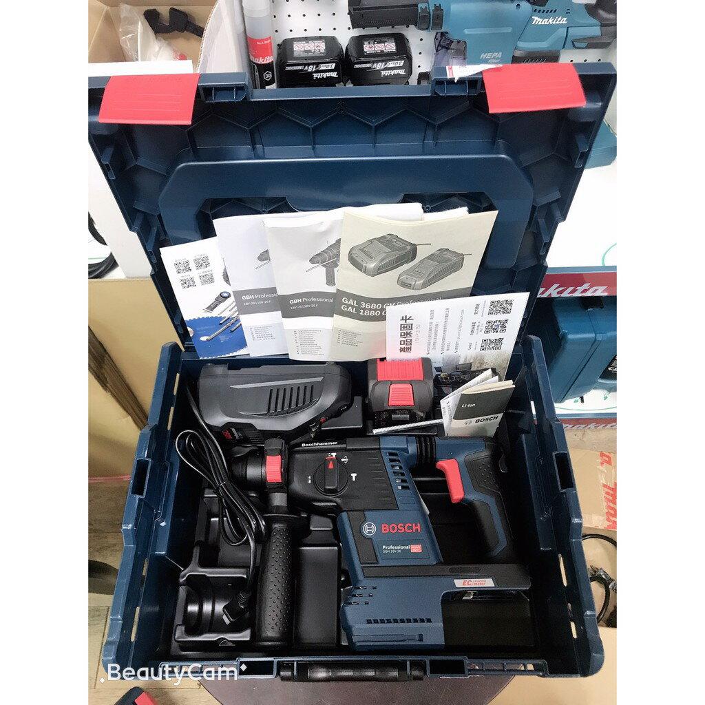 99購物節 BOSCH 博世 GBH18V-26 單6.3電池+充電器+提箱  18V 無刷 充電式 四溝 免出力 鎚鑽【璟元五金】 1