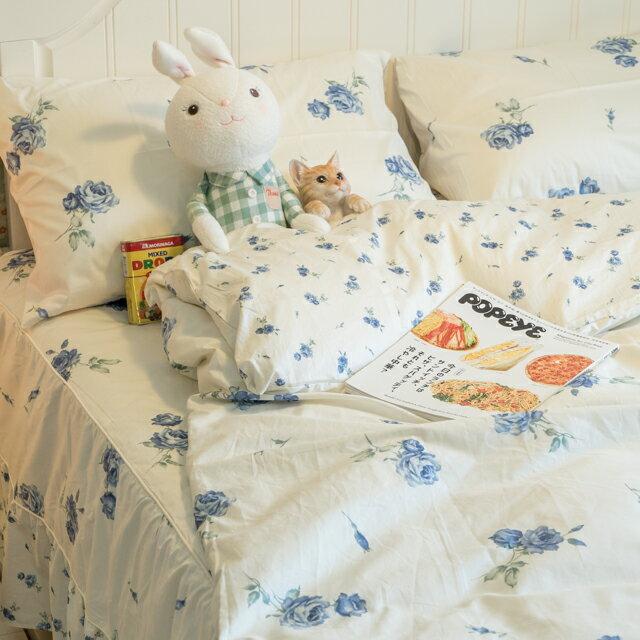 藍莓花園  雙人加大鋪棉床裙三件組 100%精梳棉 台灣製 4