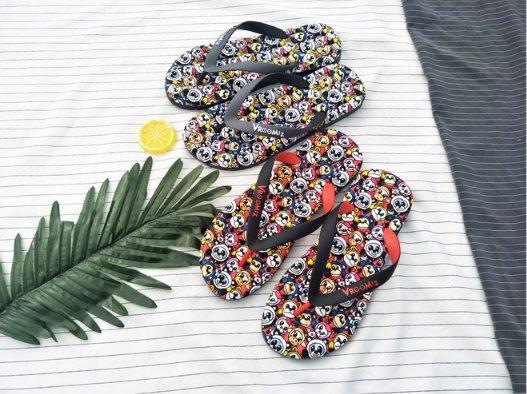 FINDSENSEZ1日系時尚男士潮流室內戶外海灘嘻哈卡通圖案夾腳人字拖拖鞋