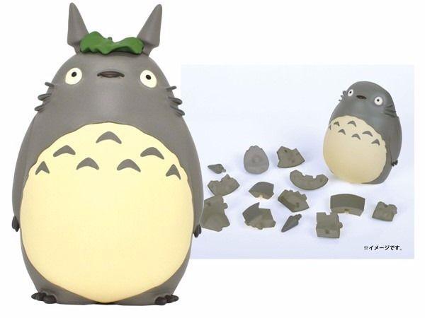 【真愛日本】16081500028立體拼圖-灰龍貓戴葉站立   龍貓 TOTORO 豆豆龍 立體拼圖 益智遊戲 玩具