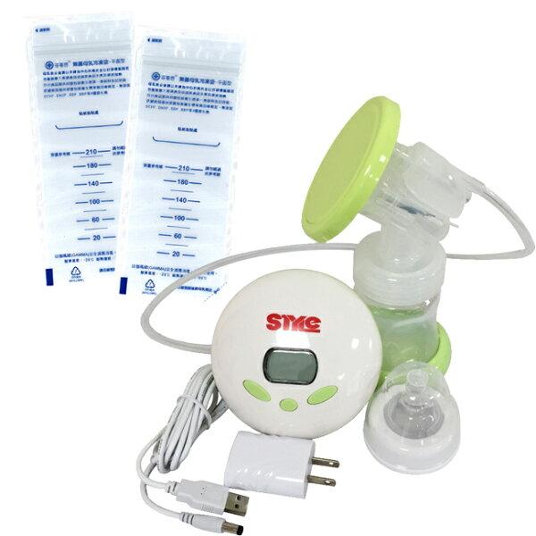 【奇買親子購物網】超靜音八段式液晶電動手動吸乳器ST288+芬蒂思平面型母乳冷凍袋210ml60入(贈30抽濕巾)