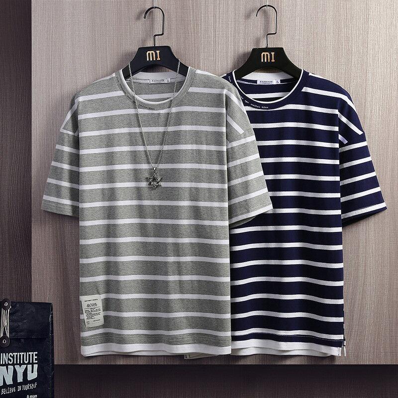 2021夏裝新品假兩件條紋短袖t恤男寬鬆青少年拼接圓領半袖衣服男