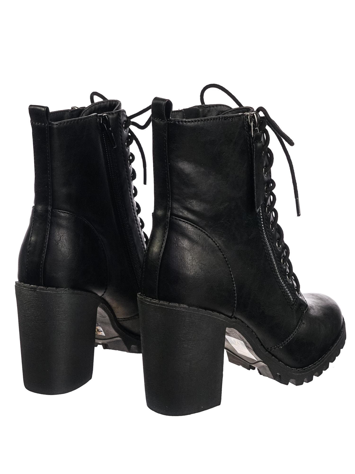 4e8c4e67977 Malia Black Pu by Soda Military Lace Up Combat Ankle Boot On Chunky Block  Heel Lug