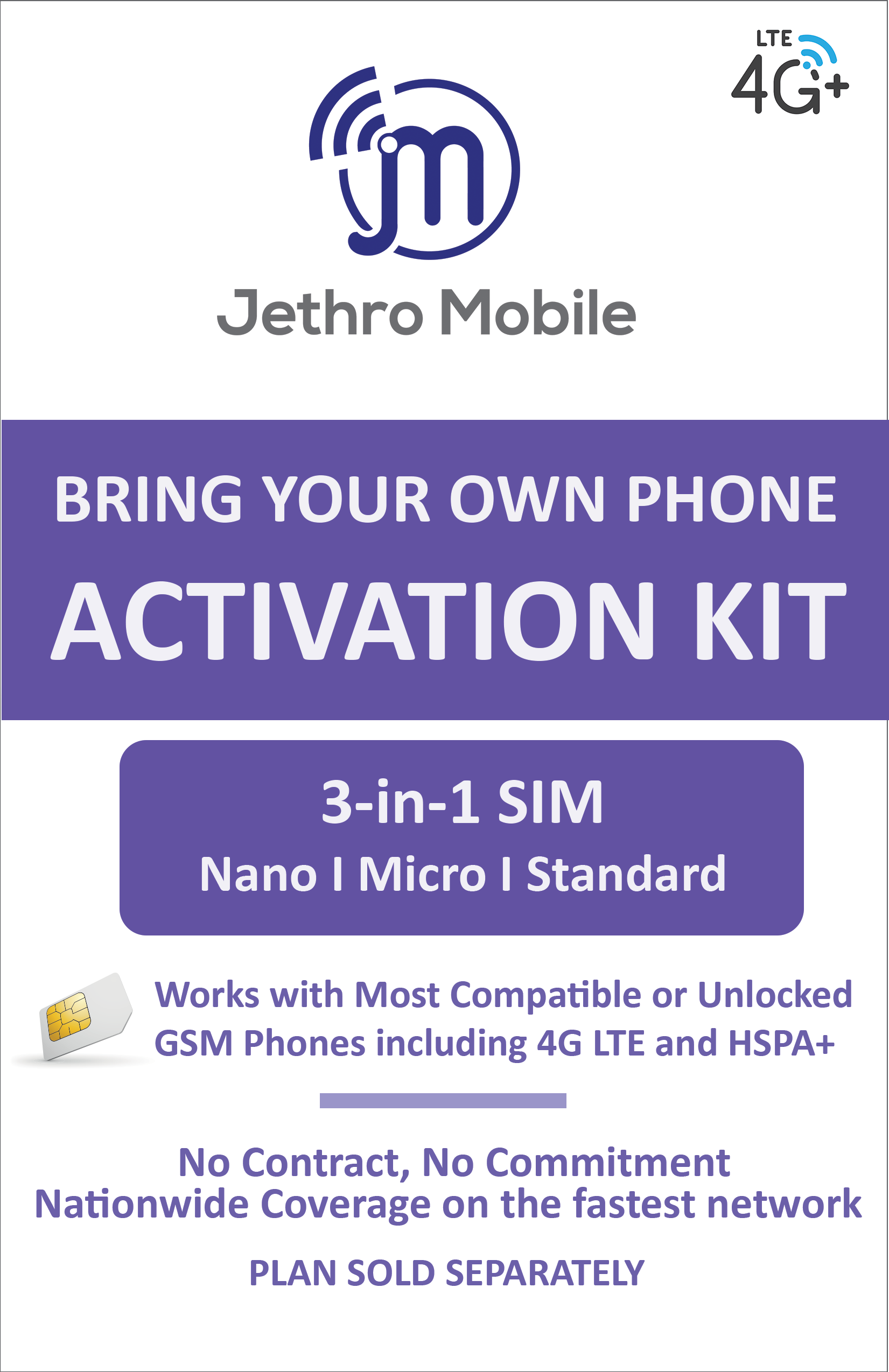 Jethro Mobile SIM card, Prepaid, Plan, NO Contract network connection,  3-in-1(Universal: Standard, Micro, Nano SIM)