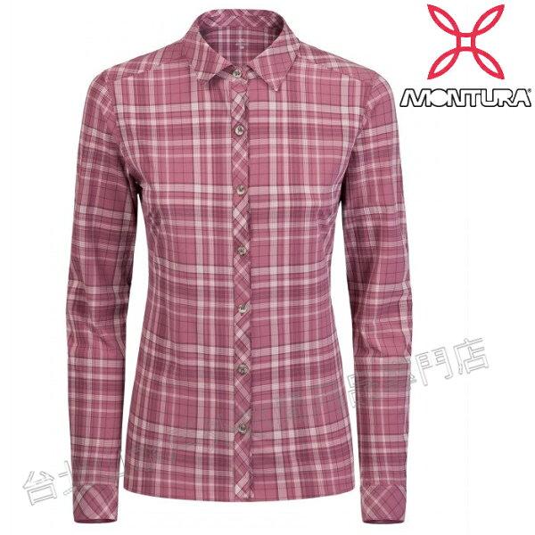 MONTURA排汗長袖襯衫衣抗UV彈性透氣襯衫運動上衣CAMELIA女款MTQLG46W13紫紅色