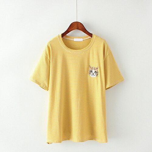卡通貓咪刺繡條紋棉質圓領短袖T恤(4色F碼)【OREAD】 3