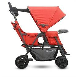 美國 Joovy Caboose Ultralight Graphite 輕量級雙人推車/兄弟車【紅色+第二座椅】【紫貝殼】