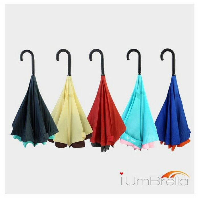 【iumbrella】一按自動收反向傘-傘面業界最大/質感握把/超撥水布料