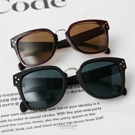 韓系墨鏡 率性感方框側邊金屬3圓點 太陽眼鏡 中性男女都 柒彩年代~NY332~抗UV40
