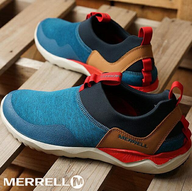 MERRELL 都會休閒款 避震氣墊 舒適耐走 直套式 免綁鞋帶 藍/卡其 男款 0