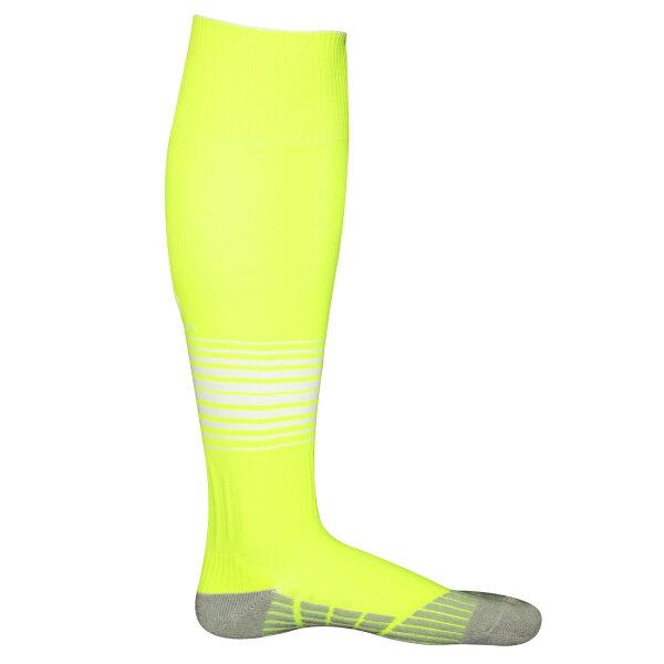 Comsport 彈性炫彩條紋專業厚底足球襪-螢光黃底白條紋