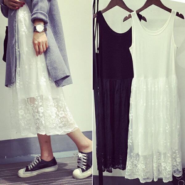 【海茵精品服飾】韓國連線*預購*內搭打底裙時尚蕾絲拼接中長款吊帶背心裙 黑 / 白