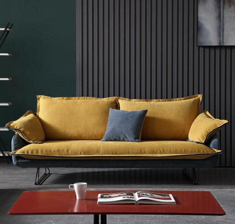 沙髮 北歐布藝沙髮組合可拆洗現代小戶型客廳傢俱三人位創意極簡沙髮   麻吉好貨