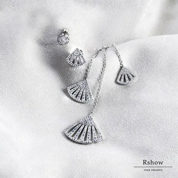 【Rshow】希臘河畔銀色人魚水鑽扇形不對稱垂墜可拆卸耳環組