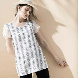【HEDY 赫蒂】造型袖直條葉子圖案長版上衣(丈青/白色)F