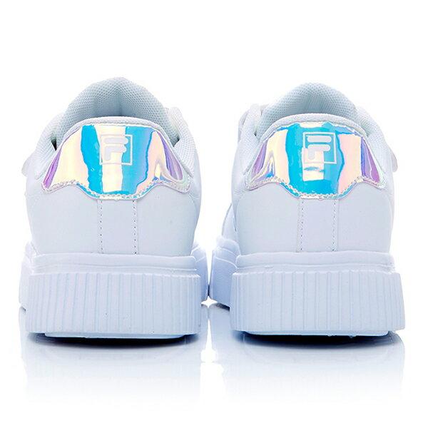 Shoestw【5C310T113】FILA COURT DELUXE 休閒鞋 厚底 增高 魔鬼氈 皮革 雷射 白色 仙杜瑞拉 女生 3