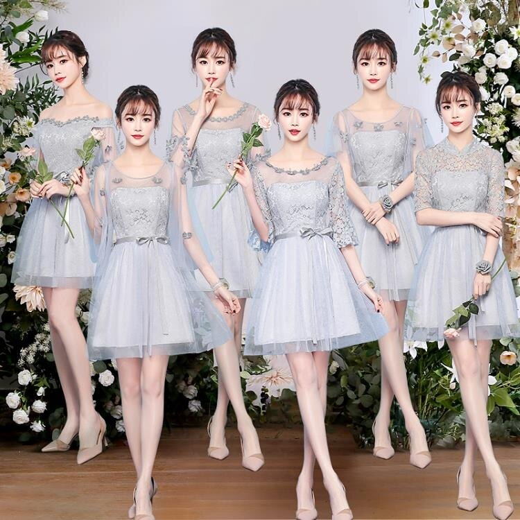伴娘禮服 伴娘禮服女姐妹團閨蜜裝短款裙灰色香檳新娘結婚春夏季【顧家家】