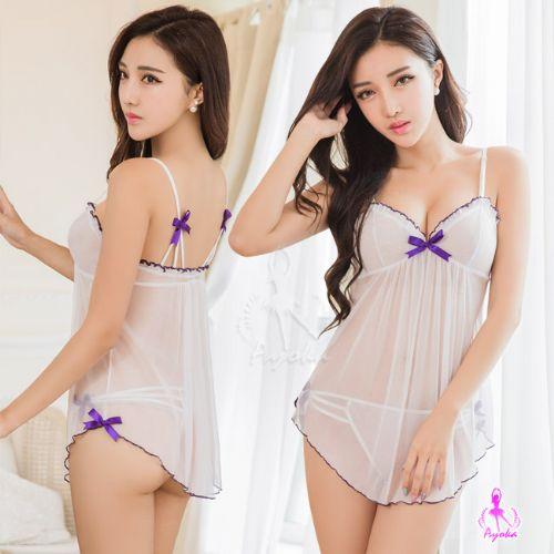 性感睡衣情趣睡衣星光密碼【A005】白色透視網紗二件式情趣性感睡衣