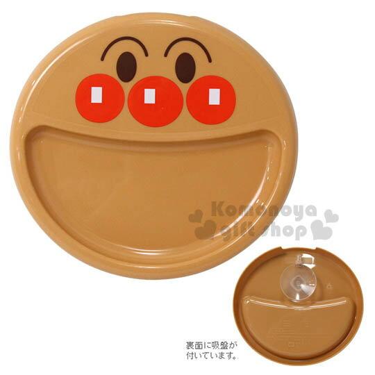 〔小禮堂〕麵包超人 造型塑膠餐盤《橘.大臉型》後有吸盤