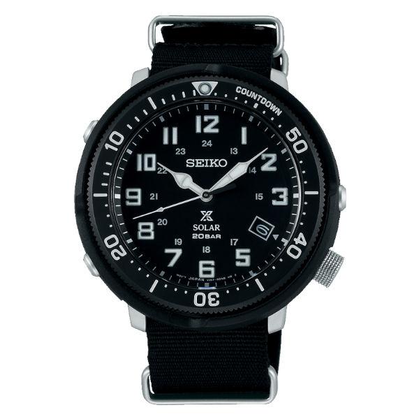 Seiko精工表ProspexV157-0CJ0SD(SBDJ027J)深黑[軍事風帆布帶太陽能腕錶44.5mm