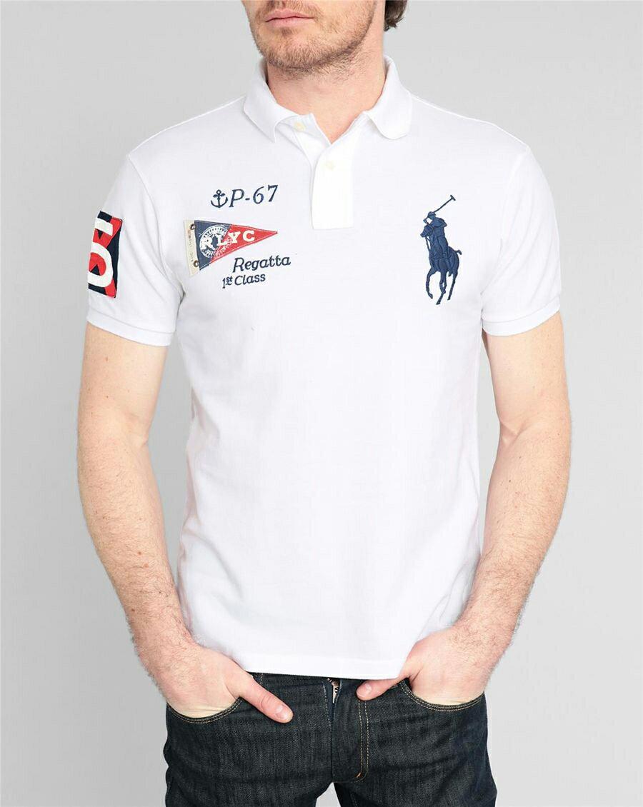 美國百分百【Ralph Lauren】Polo衫 RL 短袖 Polo 大馬 白色 旗幟 國旗 男 XS XXS號 F236