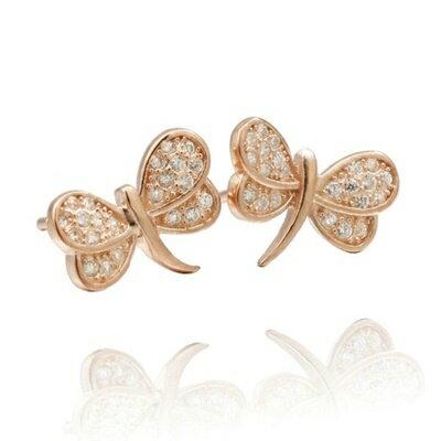 ~925純銀耳環鑲鑽耳飾~優雅大方蜻蜓 情人節 女飾品2色73dm73~ ~~米蘭 ~